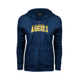 ENZA Ladies Navy Fleece Full Zip Hoodie-Arched North Carolina A&T Aggies