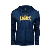 ENZA Ladies Navy Fleece Full Zip Hoodie-Arched North Carolina A&T Aggies