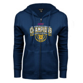 ENZA Ladies Navy Fleece Full Zip Hoodie-2016 MEAC Champions Womens Basketball