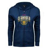 ENZA Ladies Navy Fleece Full Zip Hoodie-2016 MEAC Champions Womens Basketball