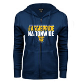 ENZA Ladies Navy Fleece Full Zip Hoodie-#AggiePride Nationwide