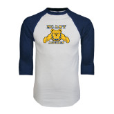 White/Navy Raglan Baseball T-Shirt-NC A&T Aggies