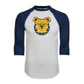 White/Navy Raglan Baseball T-Shirt-Bulldog Head