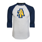 White/Navy Raglan Baseball T-Shirt-AT