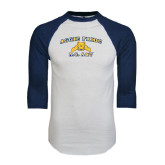 White/Navy Raglan Baseball T-Shirt-Aggie Pride
