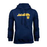 Navy Fleece Hoodie-Softball Script on Bat