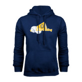 Navy Fleece Hood-Cheerleading Megaphone & Pom Poms