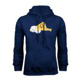 Navy Fleece Hood-Cheerleading Megaphone & Pom Poms