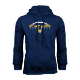 Navy Fleece Hoodie-Arched Football