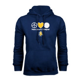 Navy Fleece Hoodie-Peace Love Volleyball