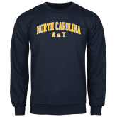 Navy Fleece Crew-Arched North Carolina A&T