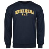 Navy Fleece Crew-Arched North Carolina A&T