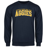 Navy Fleece Crew-Arched North Carolina A&T Aggies