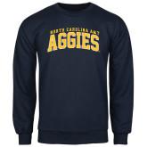 Navy Fleece Crew-Arched North Carolina A&T Aggies