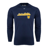 Under Armour Navy Long Sleeve Tech Tee-Softball Script on Bat