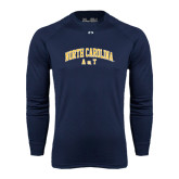 Under Armour Navy Long Sleeve Tech Tee-Arched North Carolina A&T
