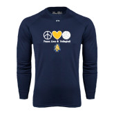Under Armour Navy Long Sleeve Tech Tee-Peace Love Volleyball