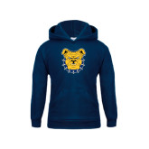 Youth Navy Fleece Hoodie-Bulldog Head