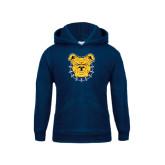 Youth Navy Fleece Hoodie-Bulldog Head