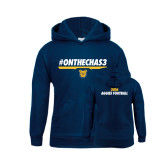 Youth Navy Fleece Hood-#OnTheChas3 Front Graphic
