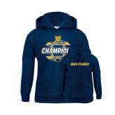 Youth Navy Fleece Hood-Back-To-Back MEAC Football Champions - Front Graphic
