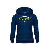 Youth Navy Fleece Hood-Arched Football