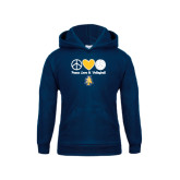 Youth Navy Fleece Hood-Peace Love Volleyball
