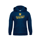 Youth Navy Fleece Hoodie-Volleyball Can You Dig It