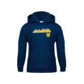 Youth Navy Fleece Hoodie-Softball Script on Bat