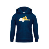 Youth Navy Fleece Hoodie-Cheerleading Megaphone & Pom Poms