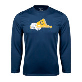 Performance Navy Longsleeve Shirt-Cheerleading Megaphone & Pom Poms