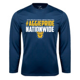 Performance Navy Longsleeve Shirt-#AggiePride Nationwide