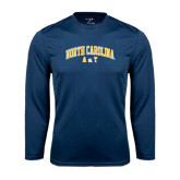 Performance Navy Longsleeve Shirt-Arched North Carolina A&T