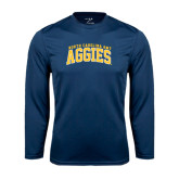 Performance Navy Longsleeve Shirt-Arched North Carolina A&T Aggies