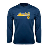 Performance Navy Longsleeve Shirt-Baseball Bat