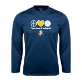 Performance Navy Longsleeve Shirt-Peace Love Volleyball