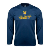 Performance Navy Longsleeve Shirt-Volleyball Can You Dig It