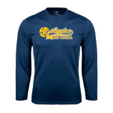 Performance Navy Longsleeve Shirt-Softball Script