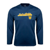 Performance Navy Longsleeve Shirt-Softball Script on Bat