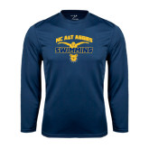 Performance Navy Longsleeve Shirt-Swim & Dive Butterfly Swimmer