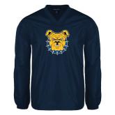 V Neck Navy Raglan Windshirt-Bulldog Head