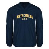 V Neck Navy Raglan Windshirt-Arched North Carolina A&T
