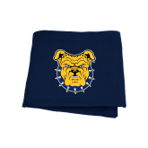 Navy Sweatshirt Blanket-Bulldog Head