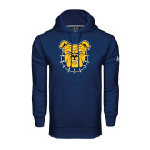 Under Armour Navy Performance Sweats Team Hood-Bulldog Head