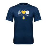 Performance Navy Tee-Peace Love Volleyball