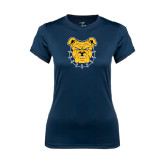 Ladies Syntrel Performance Navy Tee-Bulldog Head