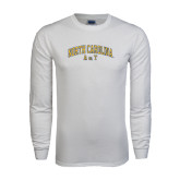 White Long Sleeve T Shirt-Arched North Carolina A&T