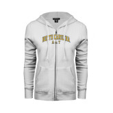 ENZA Ladies White Fleece Full Zip Hoodie-Arched North Carolina A&T