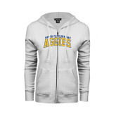 ENZA Ladies White Fleece Full Zip Hoodie-Arched North Carolina A&T Aggies