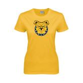 Ladies Gold T Shirt-Bulldog Head
